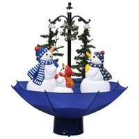 vidaXL Albero di Natale con Nevicata e Base ad Ombrello Blu 75 cm PVC