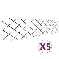 vidaXL Recinzione a Traliccio in Salice 5 pz 180x60 cm