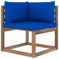vidaXL Divano Angolare da Giardino su Pallet con Cuscini Blu