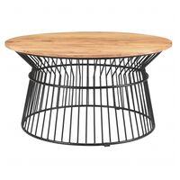 Tavolino basso rotondo in acacia e metallo