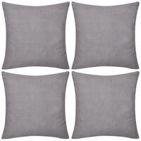 Set 4 Federe in cotone grigio 80 x 80 cm