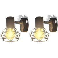 2 Applique giardino con reticolo stile industriale nero lampadina LED