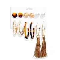 6 paia di orecchini in diversi modelli - oro / marrone