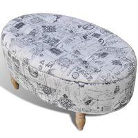 Sgabello contenitore poggiapiedi stile ottomano ovale 99 x 60 x 47 cm