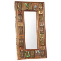 vidaXL Specchio Decorato con Buddha 50x80cm Legno Massello di Recupero