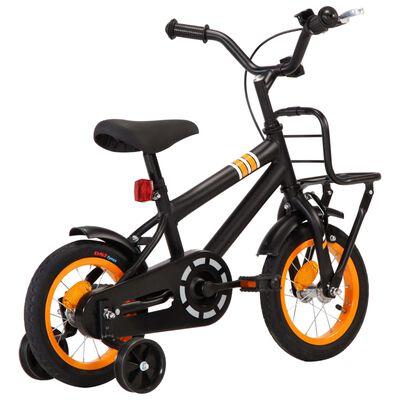 vidaXL Bici per Bambini con Trasportino Frontale 12'' Nero e Arancione