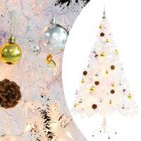 vidaXL Albero di Natale Artificiale Decorato Palline LED 150 cm Bianco