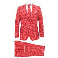 vidaXL Completo Uomo 2 pz con Cravatta Taglia 48 Tema Festivo Rosso
