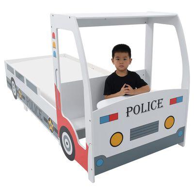 vidaXL Letto Bimbo Auto della Polizia con Scrivania 90x200 cm