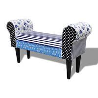 Panchina trapuntata in stile rustico Blu & Bianca