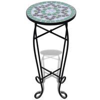 Tavolino Piante Modello Mosaico Verde e Bianco
