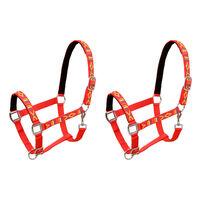 vidaXL Collare da Testa per Cavallo 2 pz in Nylon Taglia Pony Rosso