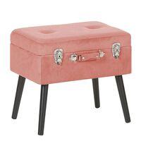 Sgabello contenitore in velluto a coste rosa MALLARD
