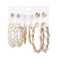 6 paia di orecchini in diversi modelli - perle