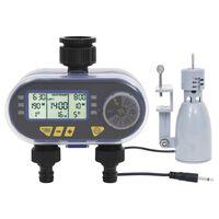 vidaXL Timer Digitale Irrigazione a Doppia Uscita e Sensore Pioggia