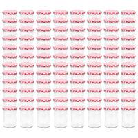 vidaXL Vasi Marmellata in Vetro Coperchio Bianco e Rosso 96 pz 400 ml
