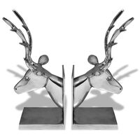 vidaXL Fermalibri a Forma di Cervo 2 pz Alluminio Argento