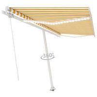 vidaXL Tenda da Sole Retrattile Manuale e LED 400x300 cm Gialla Bianca