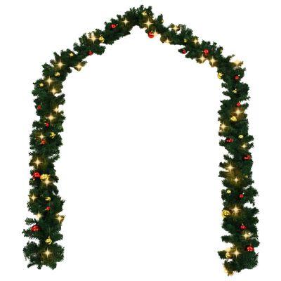 vidaXL Ghirlanda di Natale Decorata con Palline e Luci a LED 10 m