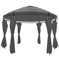 vidaXL Gazebo Rotondo con Tende 3,5 x 2,7 m Antracite