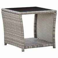 vidaXL Tavolino da Caffè Grigio 45x45x40 cm in Polyrattan e Vetro