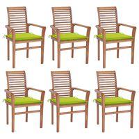 vidaXL Sedie da Pranzo 6 pz e Cuscini Verde Brillante Massello di Teak