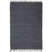 vidaXL Tappeto Chindi Tessuto a Mano in Cotone 80x160 cm Antracite
