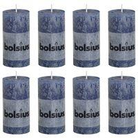 Bolsius Candele Rustiche Moccoli 8 pz 100x50 mm Blu Scuro