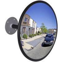 vidaXL Specchio per Traffico Convesso in Acrilico Nero 30 cm Interno