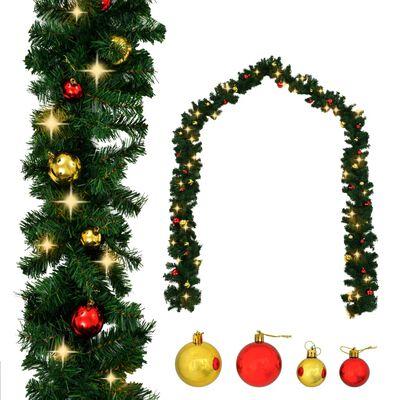 vidaXL Ghirlanda di Natale Decorata con Palline e Luci a LED 20 m
