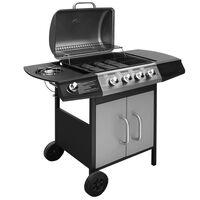 vidaXL Barbecue e Griglia a Gas 4+1 Fornelli Nero e Argento