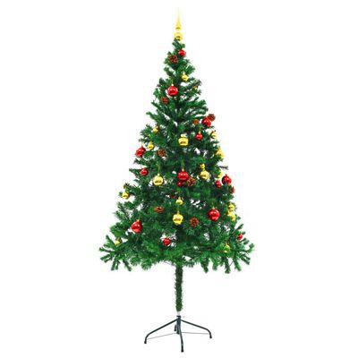 vidaXL Albero di Natale Artificiale Decorato Palline LED 180 cm Verde
