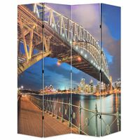 vidaXL Paravento Pieghevole 160x170 cm Stampa Harbour Bridge di Sydney