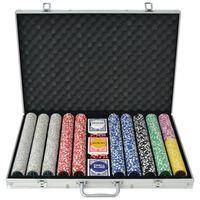 vidaXL Set da Poker con 1000 Chips Laser Alluminio