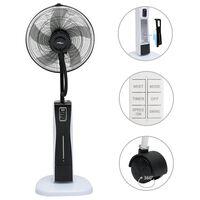 vidaXL Ventilatore Nebulizzatore a Piedistallo Telecomando Nero Bianco